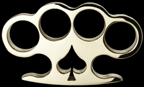 Custom made in USA brass knuckles with spade.