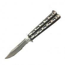 Classic Cut Butterfly Knife - Silver