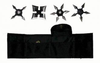 Set of 4 Throwing Stars w/ Pouch