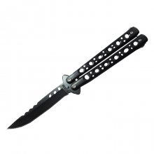 Modern Bench Butterfly Knife - Drop Point - Black