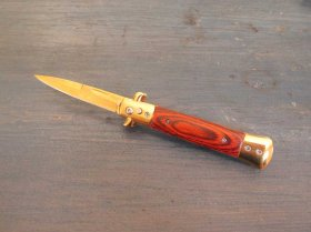"""Italian Stilletto"" Switchblade - Gold+Wood - New Style"
