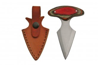 Heart Attack Push Dagger - Genuine Leather - Red Wood Handle