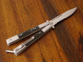 Black Marble Butterfly Knife