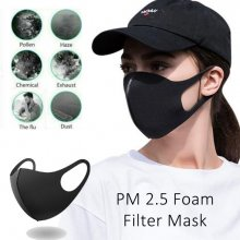 Mesh Filter Face Mask - Washable - BLACK - 5 PACK