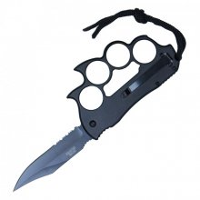 NEW Spiked Knuckles with Retractable Knife - Black