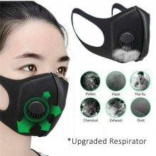 Mesh Filter Face Mask - Respirator Valve - Washable - Black