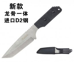 "10"" Full Tang Tanto Survival Knife - Black Wood Handle"