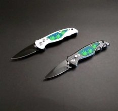Mini Pot Leaf Automatic Knife - SILVER