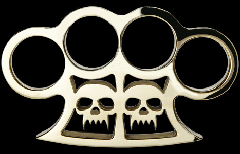 Custom made brass knuckles with two skulls