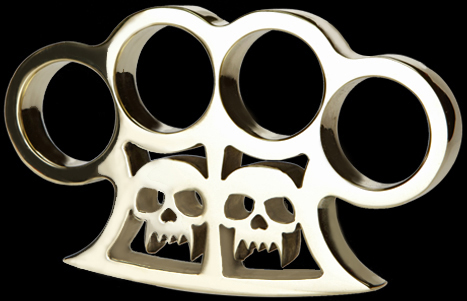 Custom made brass knuckles with skulls