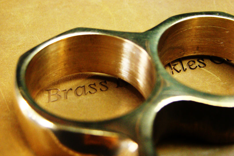 classic brass knuckles close up