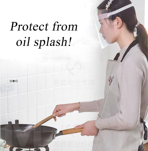 Clear mask protects against oil splash when cooking.